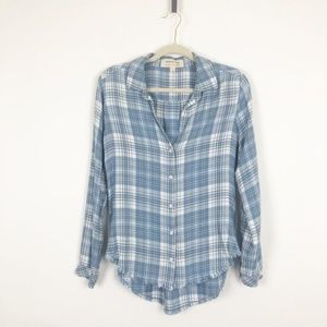 Cloth and Stone Frayed Hem Plaid Blue Shirt